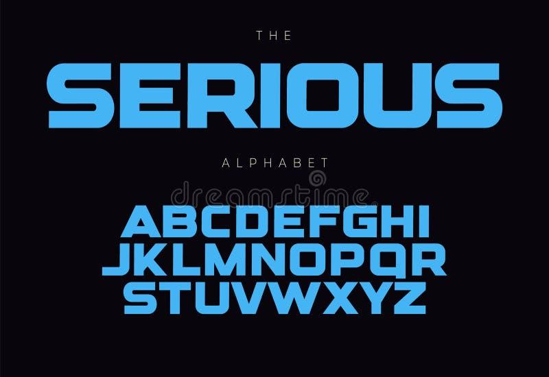 Serious bold alphabet concept for headline, logo, monogram, promo. Geometric uppercase letters. Modern typography design royalty free illustration