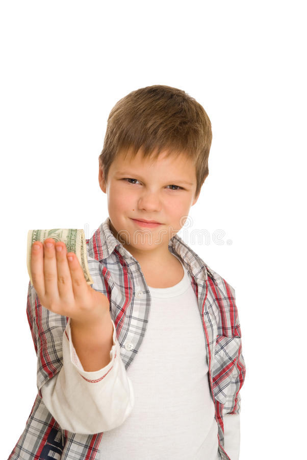 Serious boy with dollar