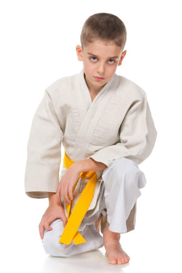 Serious boy in kimono
