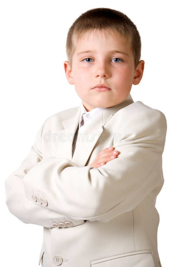 Serious boy like businessman royalty free stock photo
