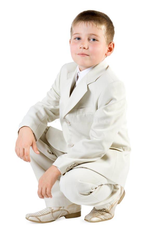 Serious boy like businessman royalty free stock photos