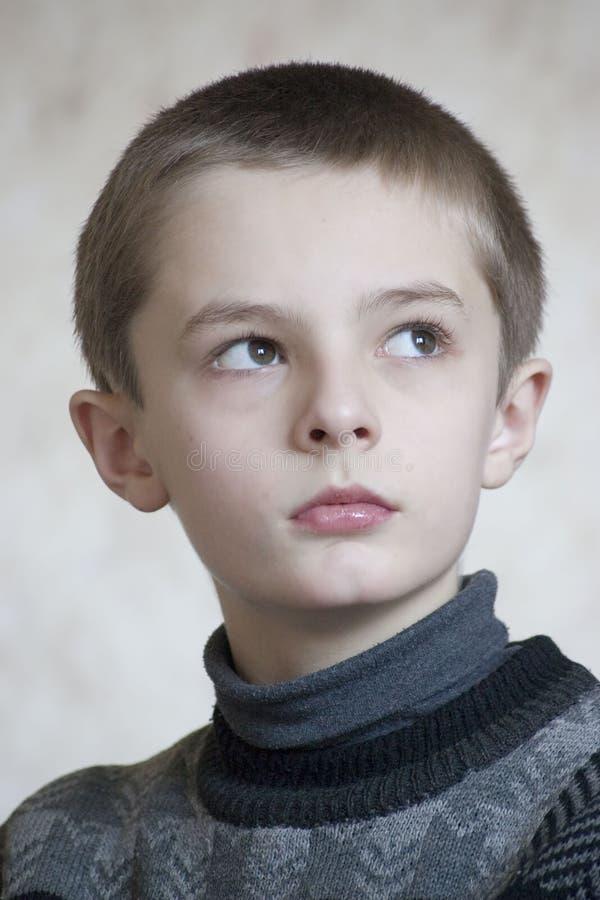 Serious boy portrait royalty free stock photo
