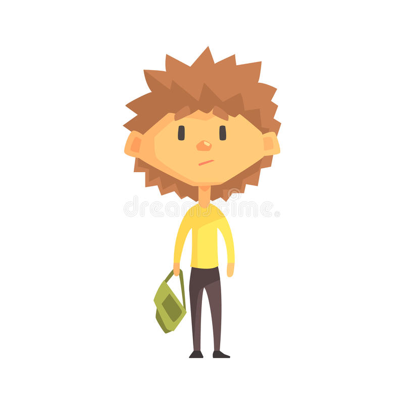 Serious Boy With Spiky Brown Hair, Primary School Kid, Elementary Class Member, Isolated Young Student Character. Elementary School Scholar On School Trip Flat vector illustration