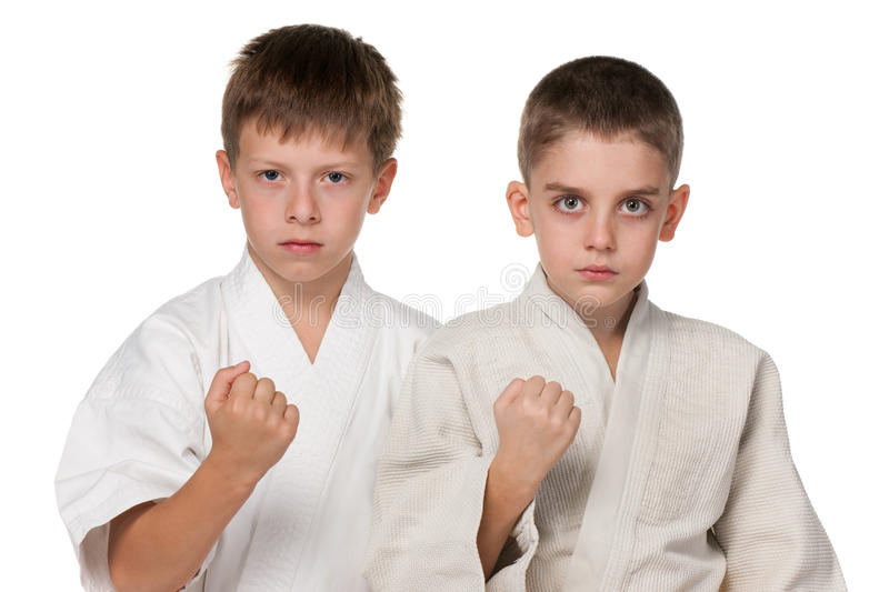 Download Serious boys in kimono stock image. Image of strong, fight - 21841873