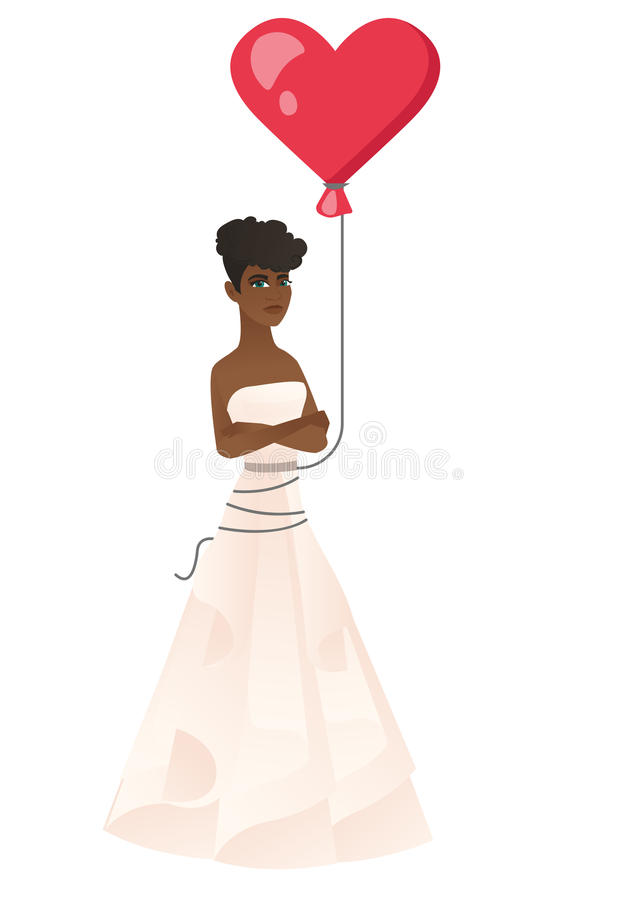 Serious bride with a heart-shaped red balloon. vector illustration
