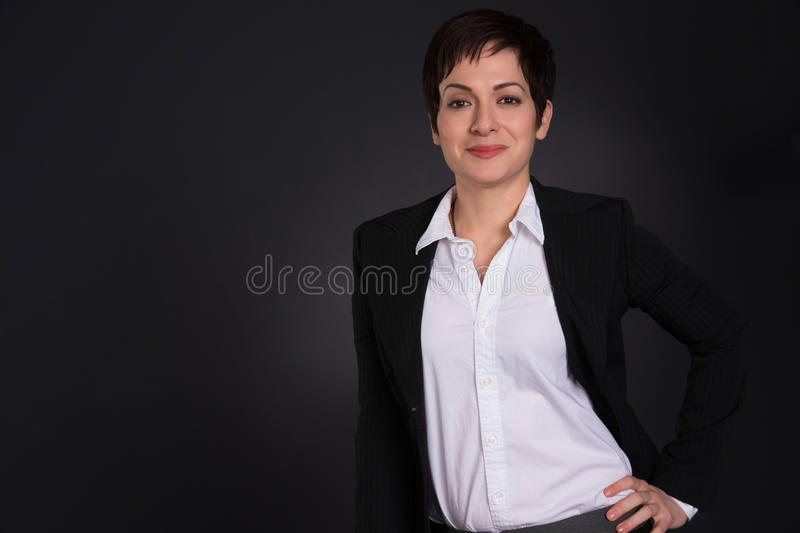 Serious Brunette Woman Draws Attention Business Female Office stock photos