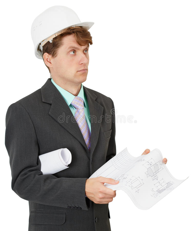 Serious builder thinks the project stock photo
