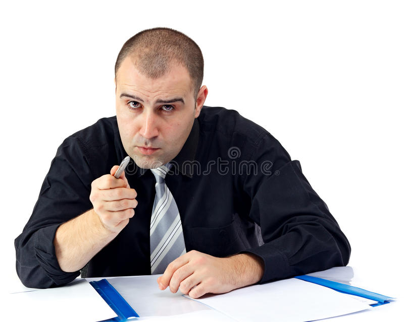 Serious business man arguing and looking at camera royalty free stock photos