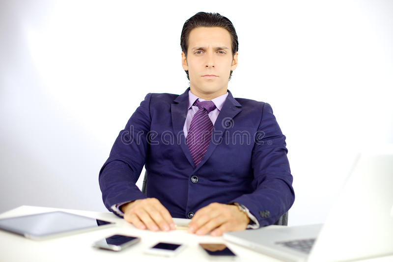 Serious business man looking stock photo