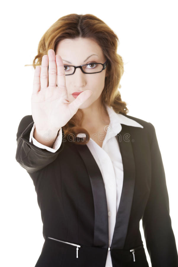 Download Serious Business Woman Gesturing Stop Sign Stock Photo - Image: 30783240