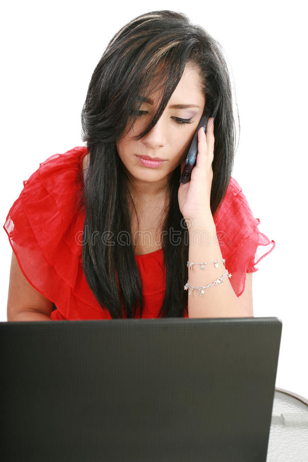 Serious business woman looking at laptop screen royalty free stock photos