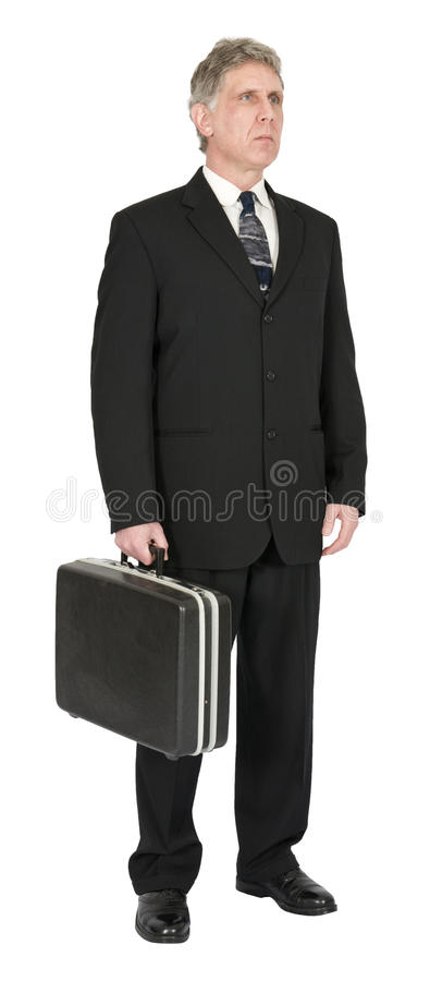 Serious Businessman with Briefcase, Isolated on White stock images