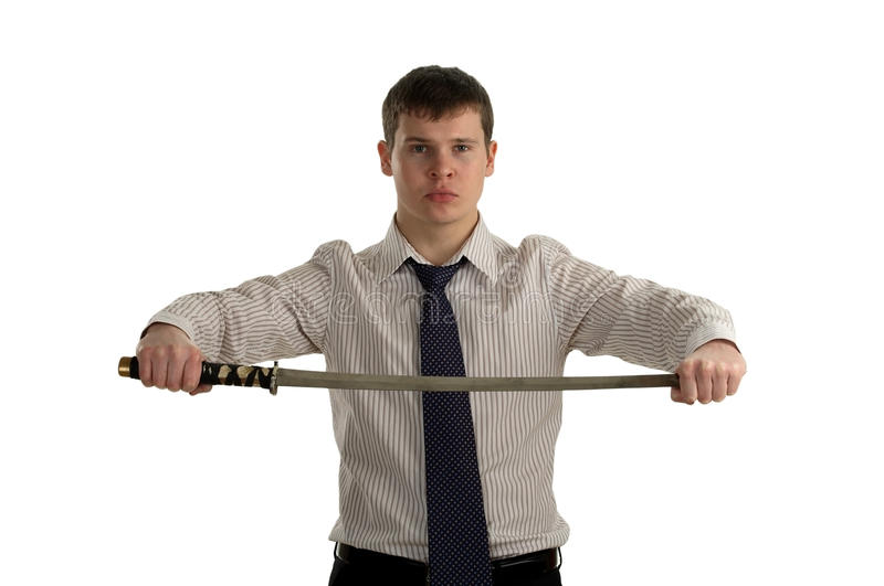 Download Serious Businessman Hold Sword Stock Image - Image: 13188501