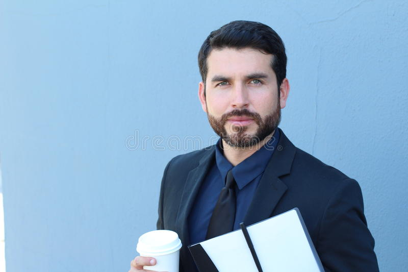 Serious businessman looking at camera. This photography was made with a professional model and others professionals royalty free stock image