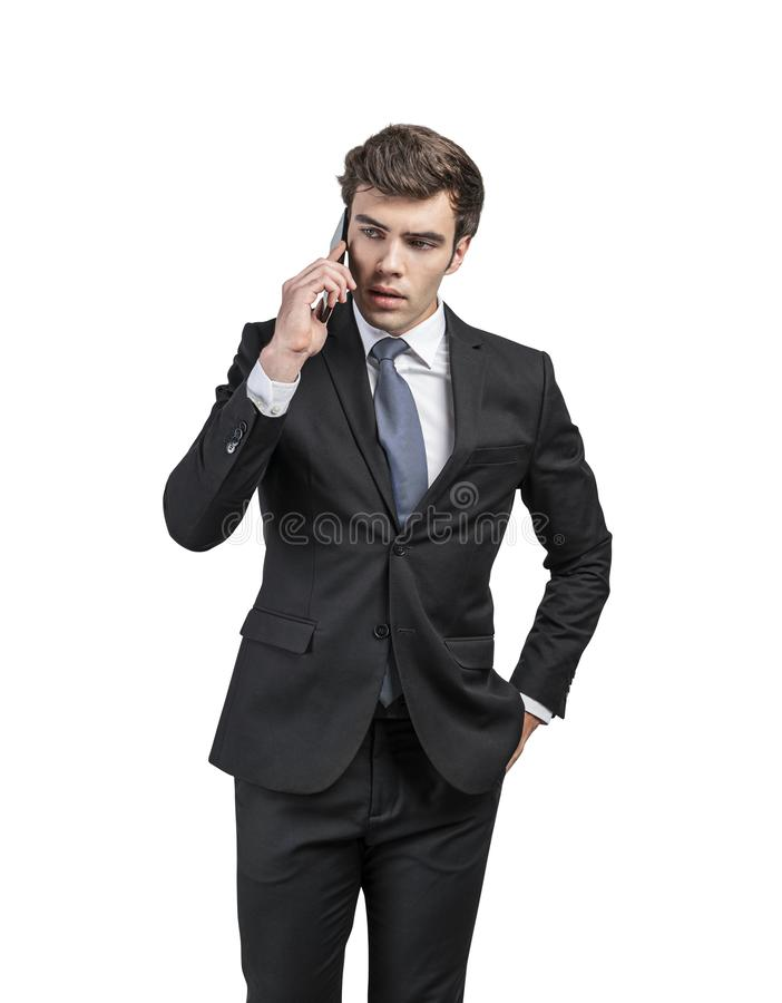 Free Serious Businessman Talking On Phone, Isolated Royalty Free Stock Photography - 163557737