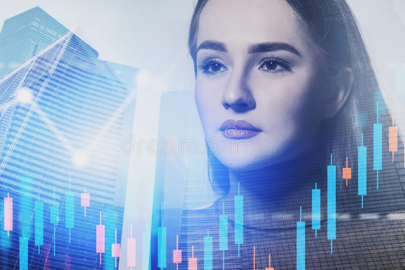 Serious businesswoman in city, graphs. Serious young businesswoman in casual clothes standing in modern city with double exposure of graphs. Concept of trading stock images