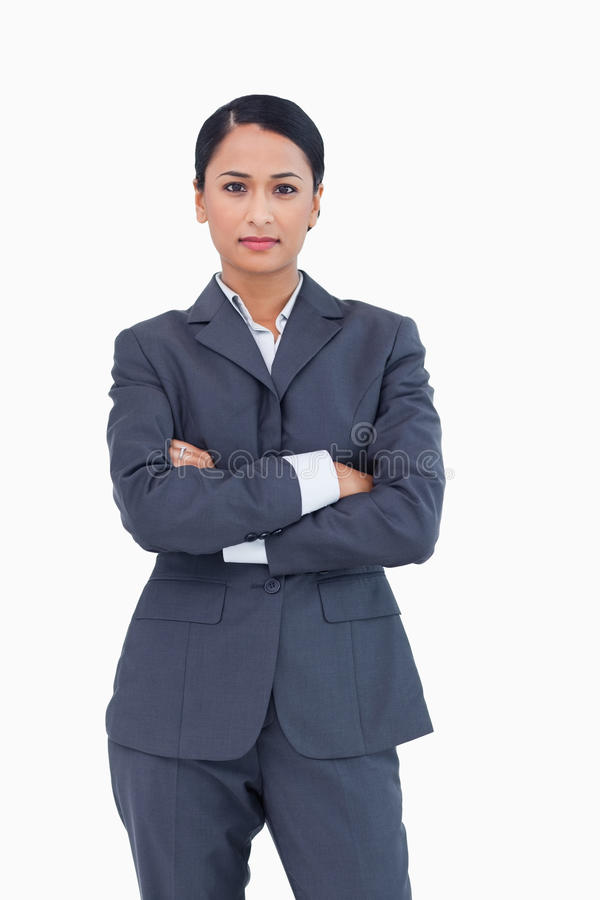 Download Serious Businesswoman With Folded Arms Stock Photo - Image of employee, executive: 22858748