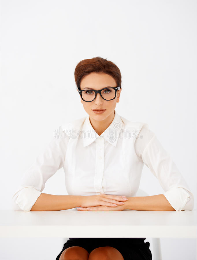 Download Serious Businesswoman In Glasses Stock Photo - Image of attractive, managerial: 28952784