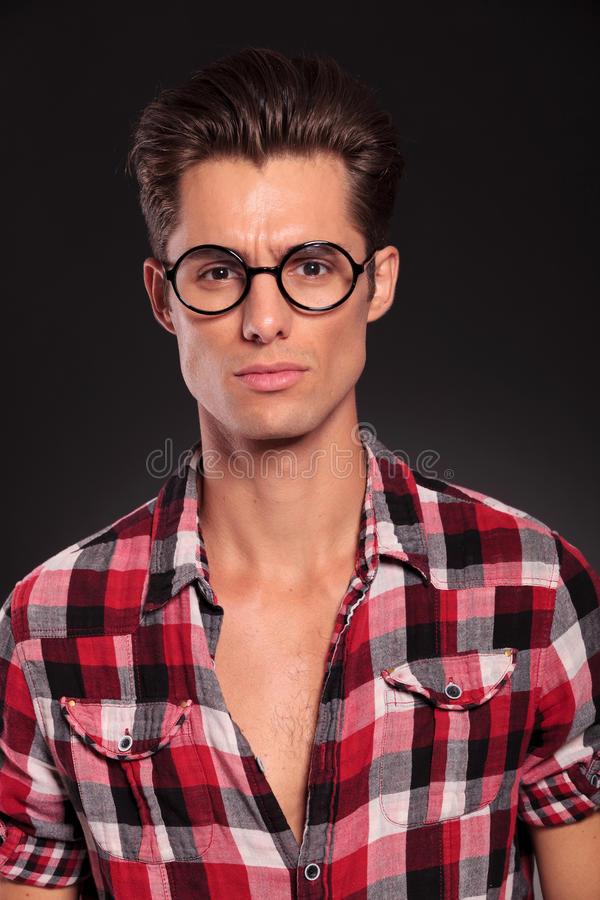 Serious Casual Man Wearing Glasses Stock Images