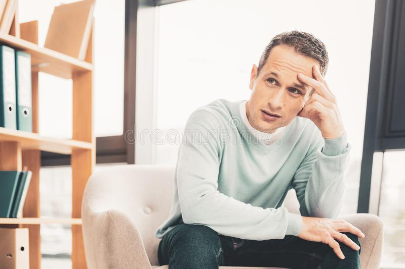 Serious chief executive feeling very busy royalty free stock photo