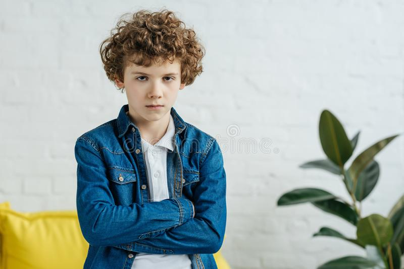 Serious child standing royalty free stock photo