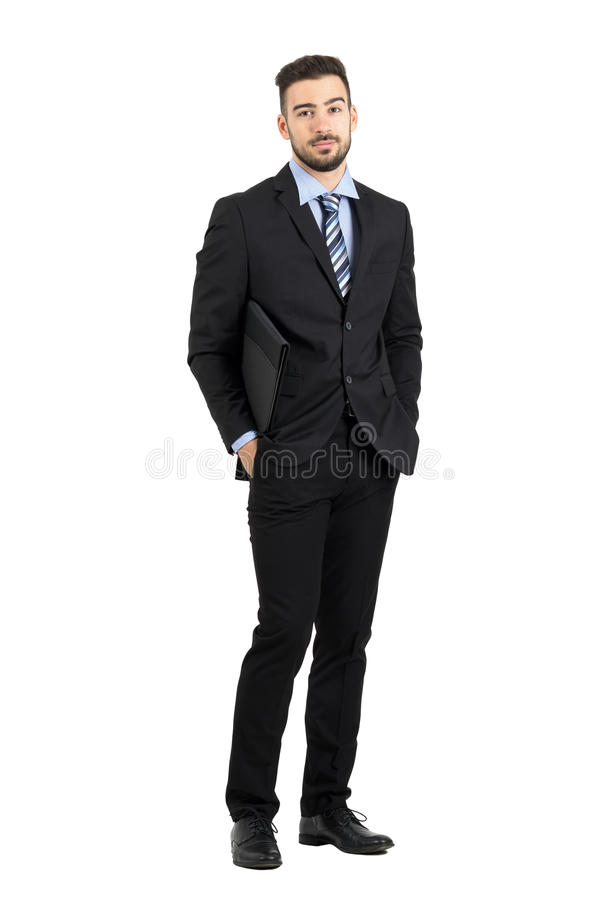 Free Serious Confident Young Lawyer Carrying Documentation Data Folder Stock Images - 61952954
