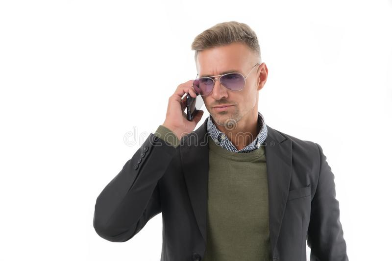 Serious conversation. Nothing personal just business. Man control business phone call. Businessman call smartphone stock photography