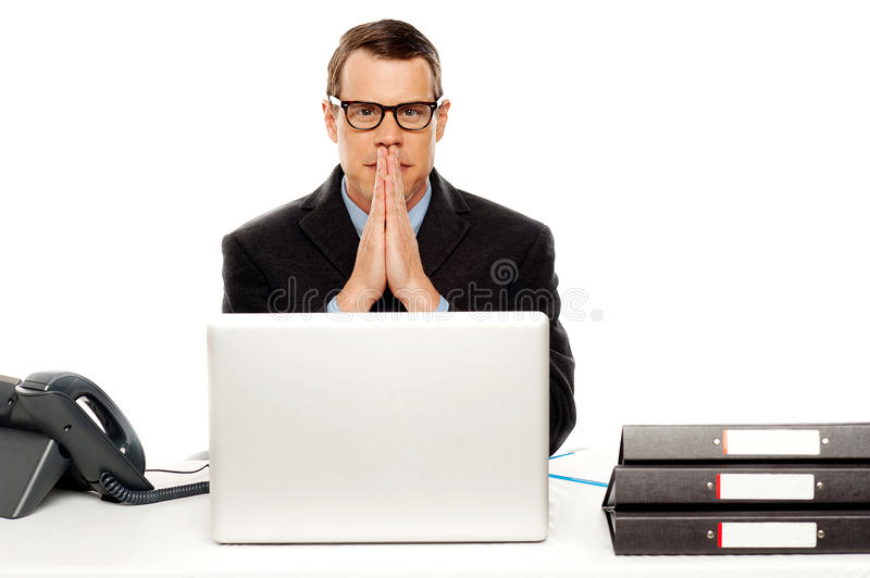 Serious Corporate Man Looking At You Stock Image
