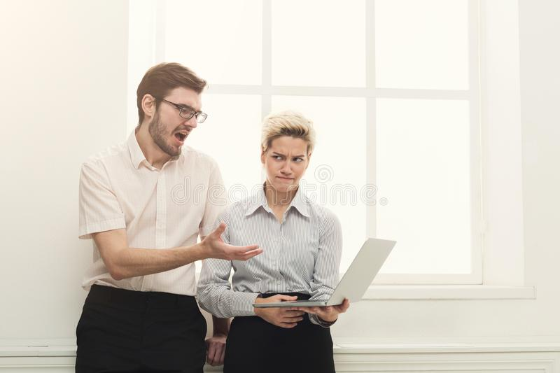 Couple of business partners work at modern office royalty free stock photo