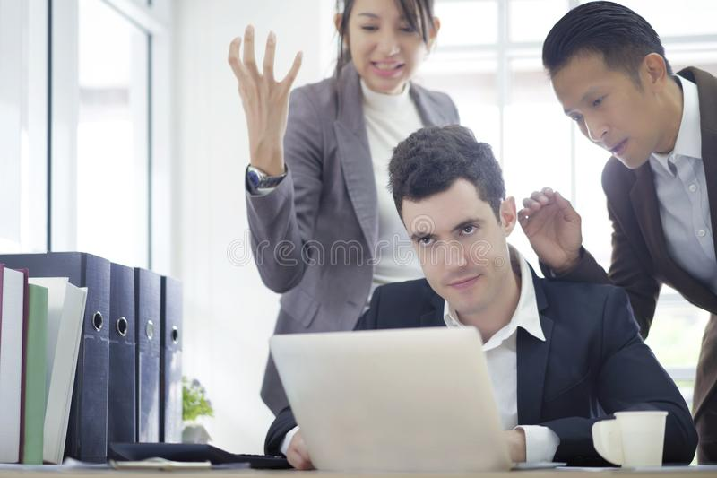 Serious creative coworker team talking frustrated of problem, working consult and discussing new planning project in office, royalty free stock photography