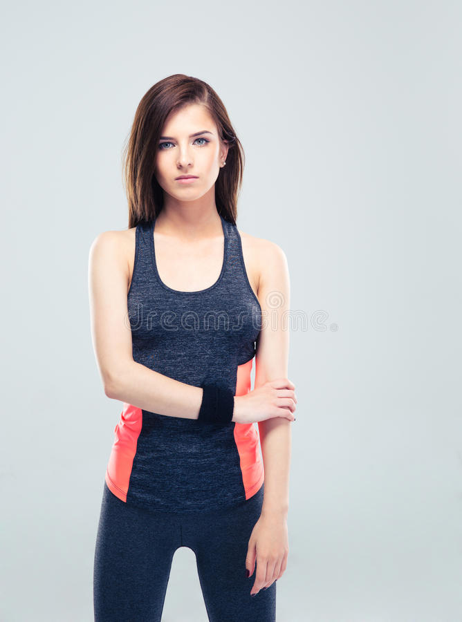 Serious cute fitness woman royalty free stock images