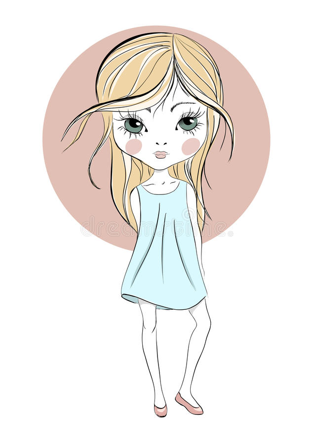 Serious Cute Girl With Big Eyes Stock Vector Illustration Of