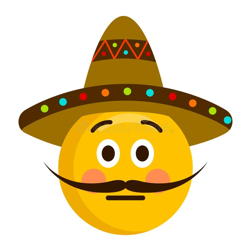 Serious emoji with a gentleman hat royalty free illustration