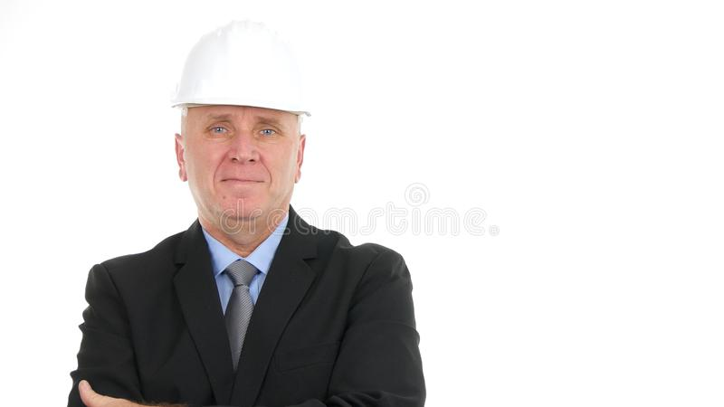 Serious Engineer Manager Presentation Construction Company Image royalty free stock photography
