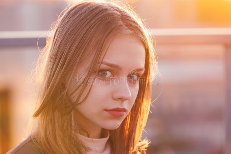 Serious European teenage girl, close up stock images