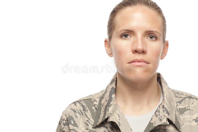 Serious female airman stock image
