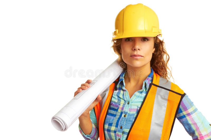 Serious female construction worker stock photo