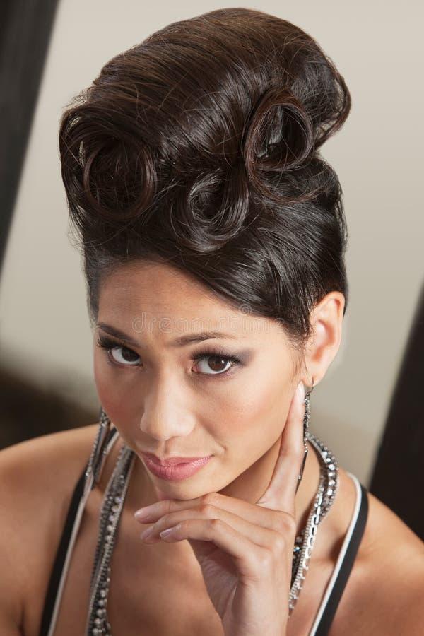Serious Female In Retro Hairdo Royalty Free Stock Photo