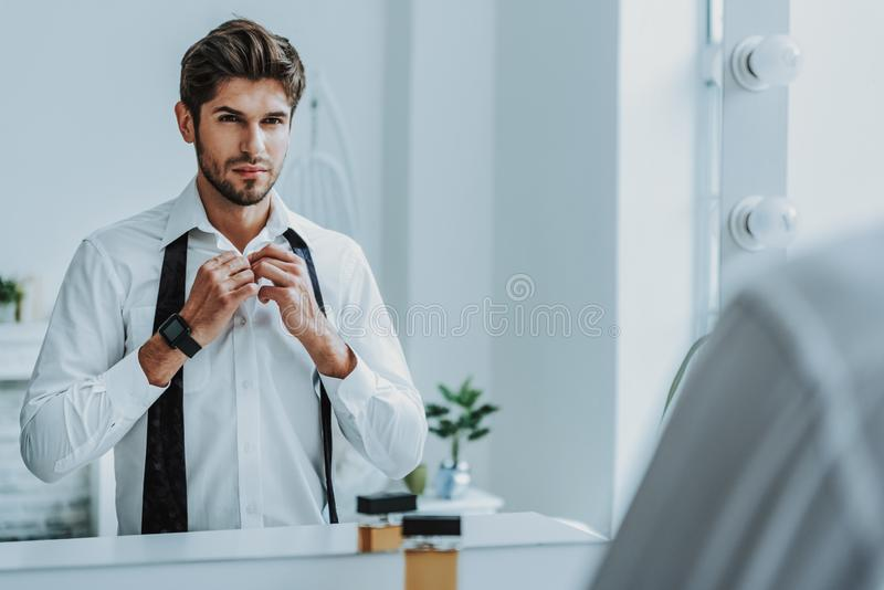 Serious gentleman wear official cloth to work royalty free stock images