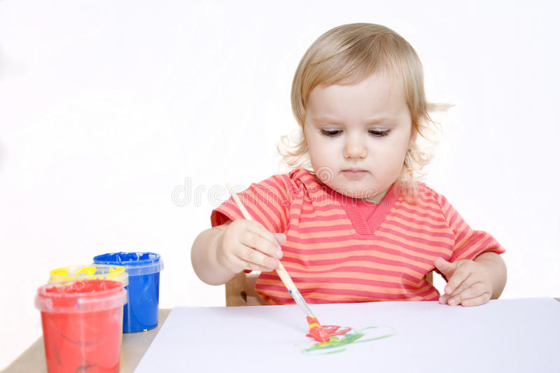 Download Serious Girl Painting With Brush Stock Image - Image: 11302685