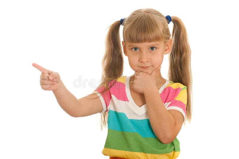 Serious Girl Pointing Aside Stock Images
