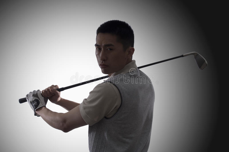 Serious Golfer's portrait royalty free stock images