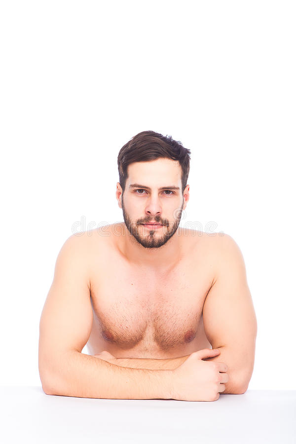 Sportive men naked, sit hold peetures