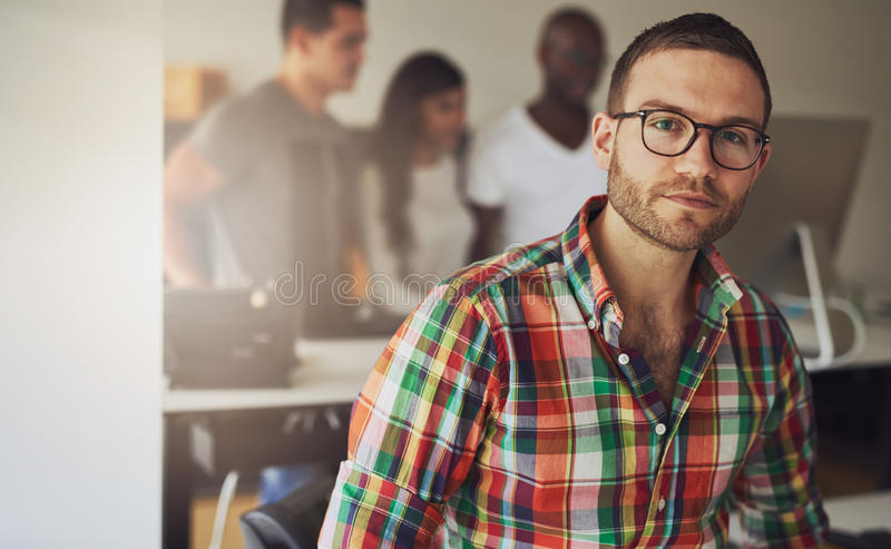 Serious handsome business owner royalty free stock photo