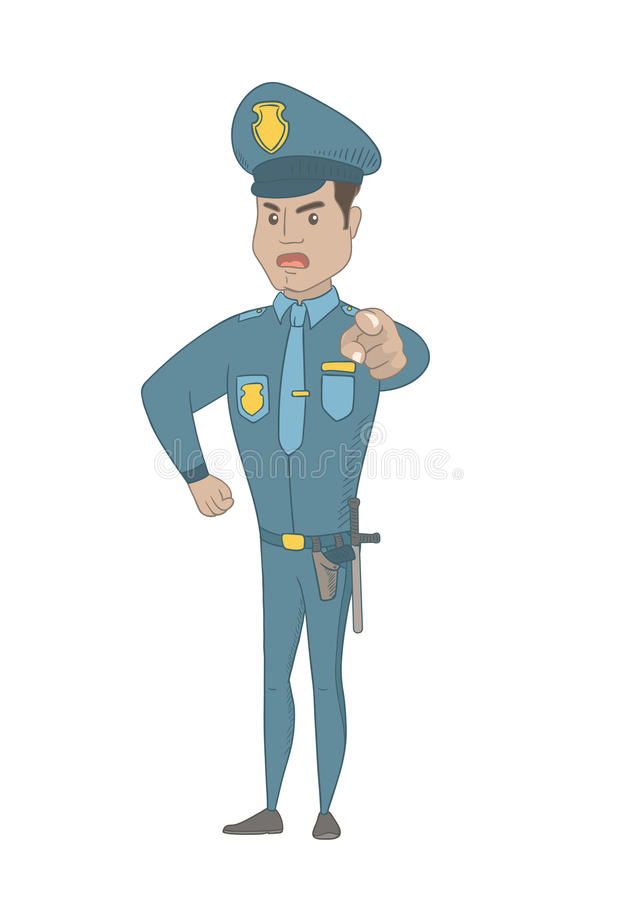 Serious Hispanic Police Officer Pointing At You. Stock Vector ...