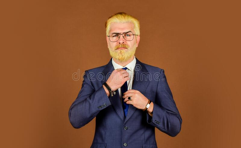 Serious intentions. Businessman formal suit. Leadership concept. Well groomed ceo head of department. Office worker royalty free stock photos