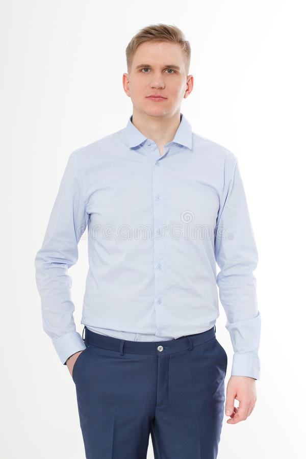 Serious leader businessman isolated on white background. Blue template and blank Shirt on man. Copy space and mock up. stock photo