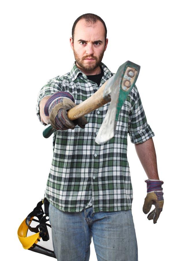 Serious lumberjack. Portrait of caucasian lumberjack on white background stock photos
