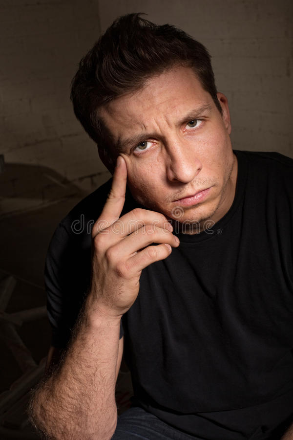 Serious Man in Black royalty free stock photography