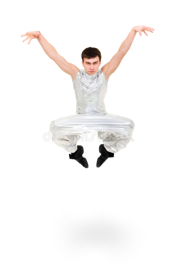 Serious man dancer jumping. On a white background royalty free stock images